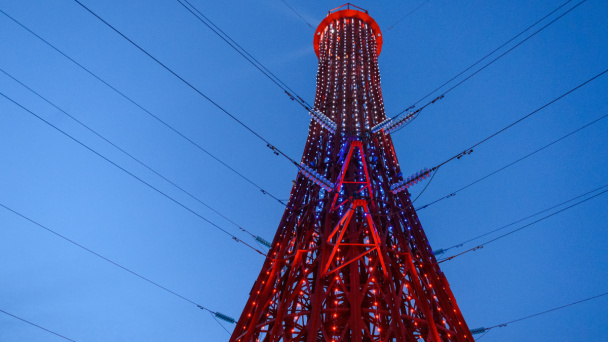 46-meter power transmission tower stylized as lighthouse is built in Voronezh