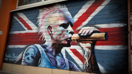 Huge graffiti of deceased musician Keith Flint from The Prodigy appears in Voronezh